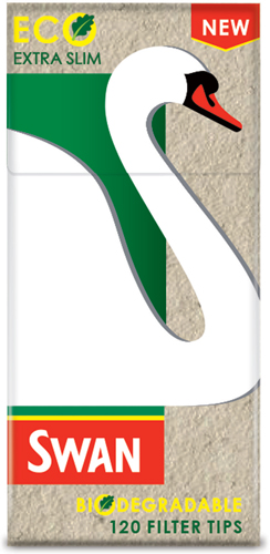 Extra slim Eco Swan filters are biodegradable and feature naturally coloured filters and unbleached paper wrap.