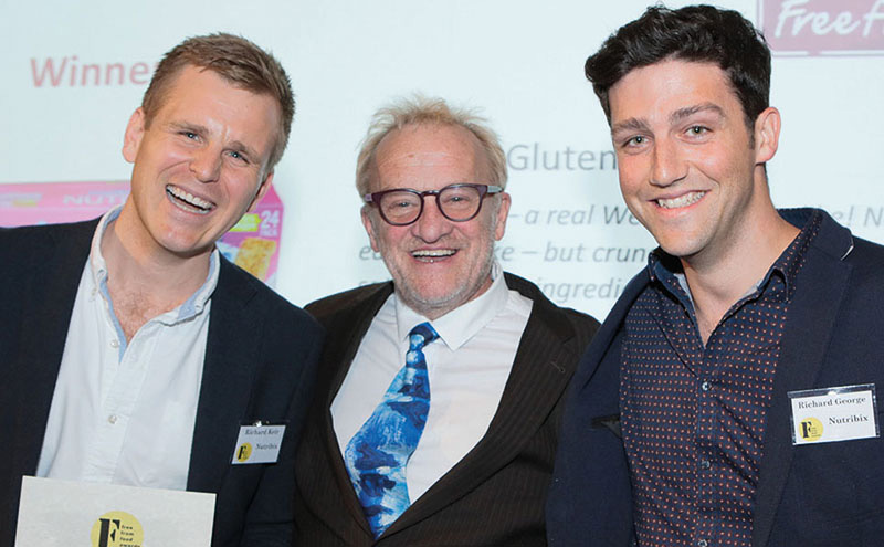 Winners of the FAIR Trophy for Best FreeFrom Food 2016, Richard Keir (left) and Richard George (right) of Nutribix Gluten Free with Antony Worrall Thompson