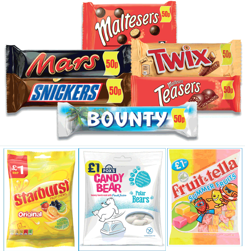 Mars Chocolate UK has extended its range of countline PMPs to include Mars, Snickers, Twix, Bounty and Maltesers. In sugar confectionery, the number of sharing packs price-marked at £1 continues to grow.