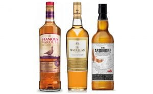 The Famous Grouse is available in fractional sizes and malts such as Laphroaig, The Macallan Gold and Highland Park 12 Year Old are available in special display cartons.