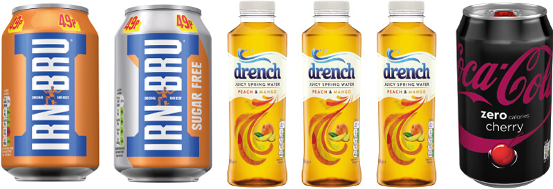 Irn-Bru is embarking on its first major rebranding project in many years, full details on page 27 in our Market News section. Britvic's Drench adult soft drink has also seen a major makeover. And Coca-Cola Enterprises introduced 330ml cans of zero-calorie Coca-Cola Cherry recently.