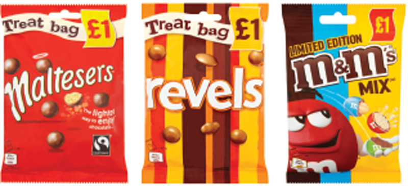 Limited-edition M&Ms Mix has joined established Mars treat bag lines in a £1 price-marked pack. Mars says pouches, block chocolate and boxed chocolates are all showing good growth.