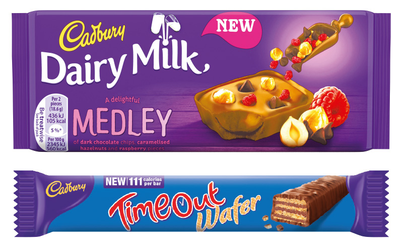 Two of the latest product developments from Mondelez International – new Cadbury Dairy Milk Medley in small tablet size and Time Out Wafer, with a 111 calorie count on the front wrapper.