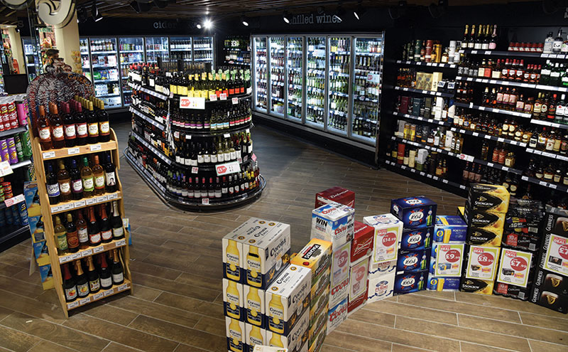 An extensive alcohol section