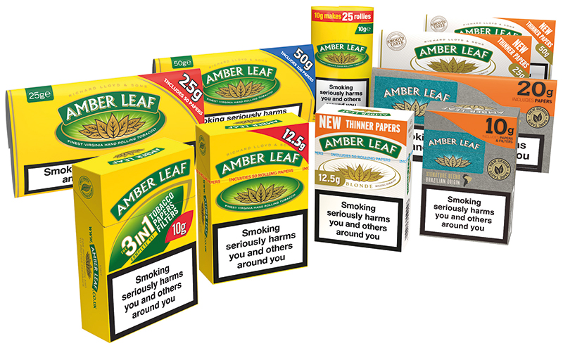The 2015 family of sizes and packs of the UK's biggest-selling RYO tobacco Amber Leaf. All but one of the sizes above is now forbidden to be made for EU markets.