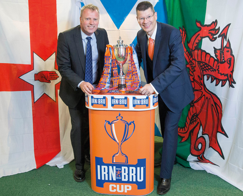 Adrian Troy, head of marketing, AG Barr and SPFL chief executive Neil Doncaster up for the cup.