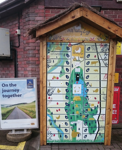 The new egg vending machine at Jet Border Cars forecourt in Dumfries.