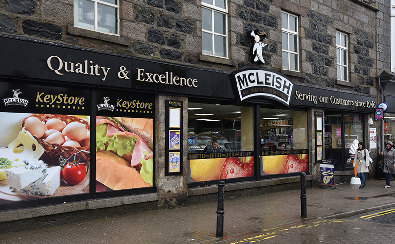 McLeish in Market Place in the centre of Inverurie. Over seven years it has been built into an award-winning convenience, food to go and local specialist store .