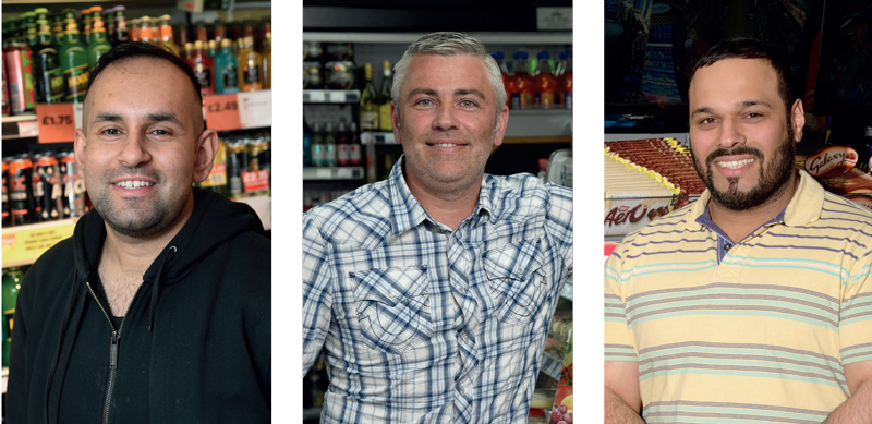 Omar Nasir, who has Motherwell stores, left, Scott Graham, of McLeish, Inverurie, centre, and Jagtar Lalli of Premier in Saltcoats all saw business boosted in the early June heatwave.