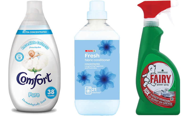 Comfort Pure Ultra is designed to tap into two trends for concentrated formats and sensitivity, which Unilever says are increasingly important for customers. Fresh fabric conditioner is part of the Spar own-brand range, while Fairy Power Spray is tipped by P&G as a must-stock during the summer barbecue season.