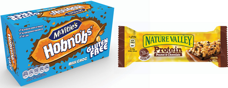 United Biscuits has launched gluten-free varieties of its popular McVitie's Hobnobs brand and Nature Valley has increased the size of its Protein bars.