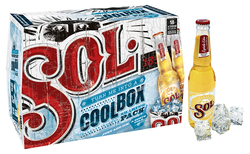 Sol bottle and case ice