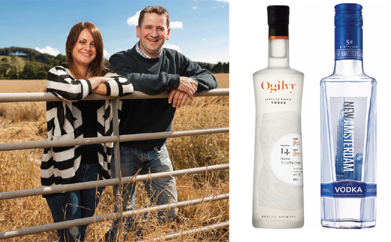 Graeme and Caroline Jarron, founders of Ogilvy Spirits and creators of Ogilvy potato vodka. US import New Amsterdam Vodka (right) is now avaialble in 35cl.