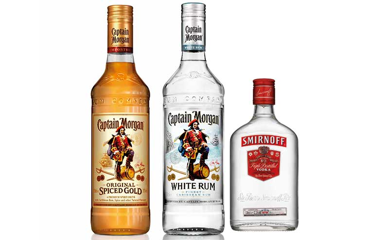 Captain Morgan White Rum joined Original Spiced Gold in Diageo's Captain Morgan range last year. The firm says the Captain Morgan brand is adding the most incremental year-on-year volume of any rum brand. Diageo sees fractionally sized bottles as driving growth in spirits' sales and says they are ideal for Big Night In shoppers looking to buy on a budget .