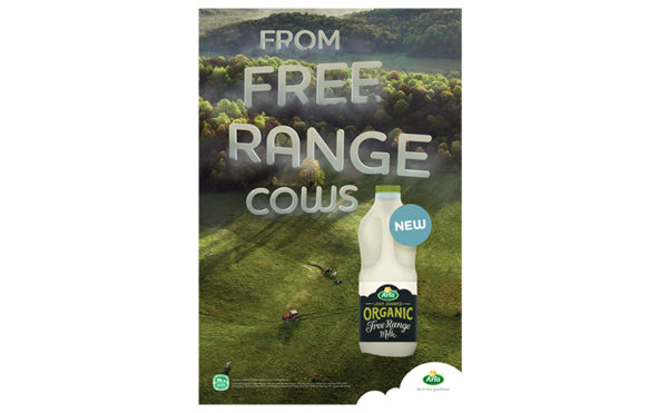 A free range claim lands on milk bottle