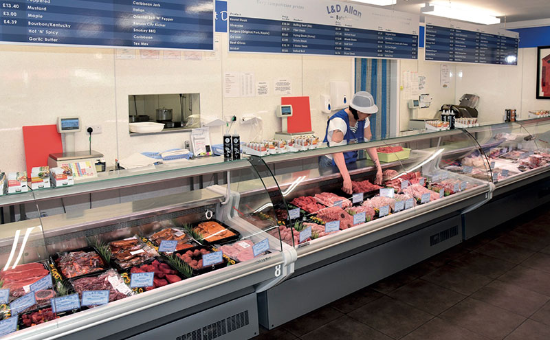 The butcher counter has long been Mace Fraserburgh's most important asset, remaining lucrative even in years when the rest of the store was not. Since Lyn Allan took over, the butcher section has been completely renovated and the serve-over counter extended to introduce new lines. Elsewhere, different areas of the store have received facelifts of their own.