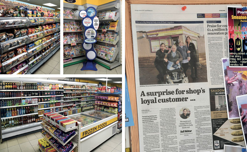 Asif and Abada's gift to regular customer Dick Sneddon made the local news (right). The pair have operated Smeaton Stores for over 15 years, building strong ties to the community while working to improve the area.