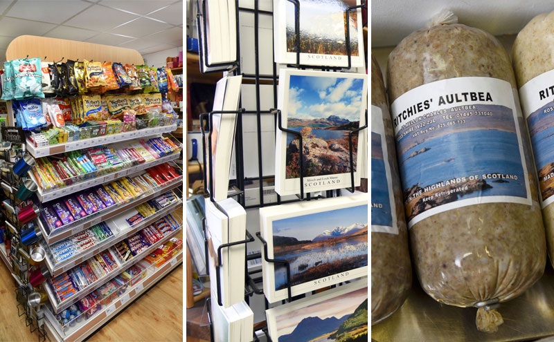 As well as its wide grocery range, Laide Post Office capitalises on its location with a wide variety of holiday souvenirs. Local produce includes Ritchie's of Aulbea black pudding and haggis, Isle of Ewe Smokehouse fresh and smoked fish, Cullise Highland rapeseed oil, MacLeans Bakery, Harry Gow Bakery, and Highland Fine Cheeses.