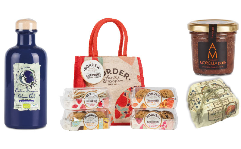 Olivar de la Luna olive oil, Border Biscuit jute bags, Majorcene sobrasada (spreadable chorizo) and Italian panetonne are among the many premium foods available to independent retailers at Christmas.