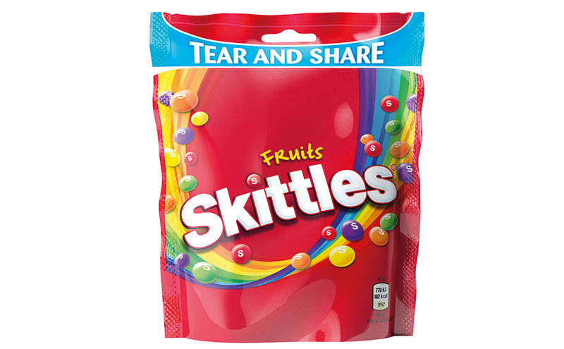 Skittles tear and share bag
