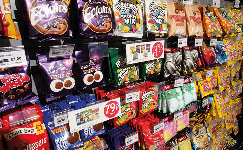 Hanging bags of sweets