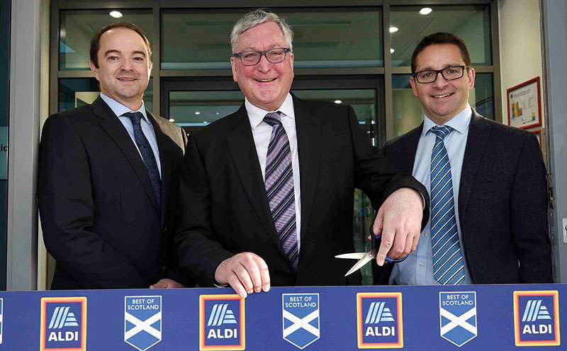 Richard Holloway ALDI Scotland MD, Fergus Ewing MSP, James Withers Scotland Food & Drink