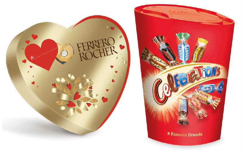 Ferrero Rocher and Celebrations packs