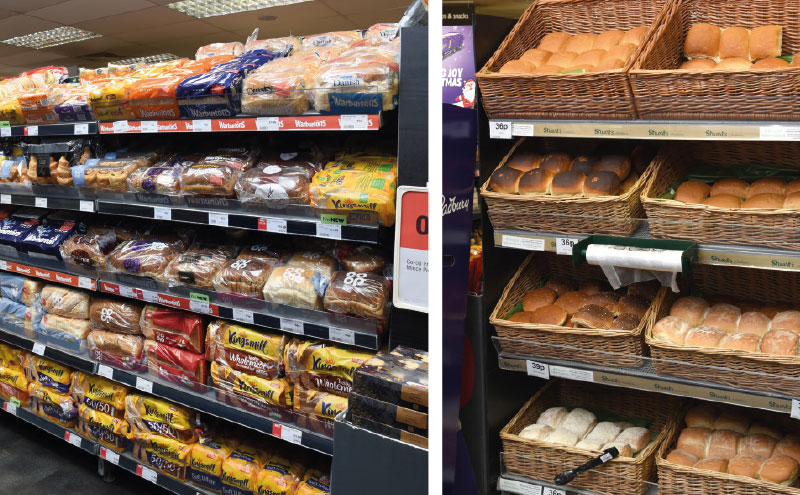 While offering a strong core range of wrapped bread, this is supplemented by bays for promotions, gluten free and fresh rolls from Stuart's Bakers, as well as a cake and pie counter.