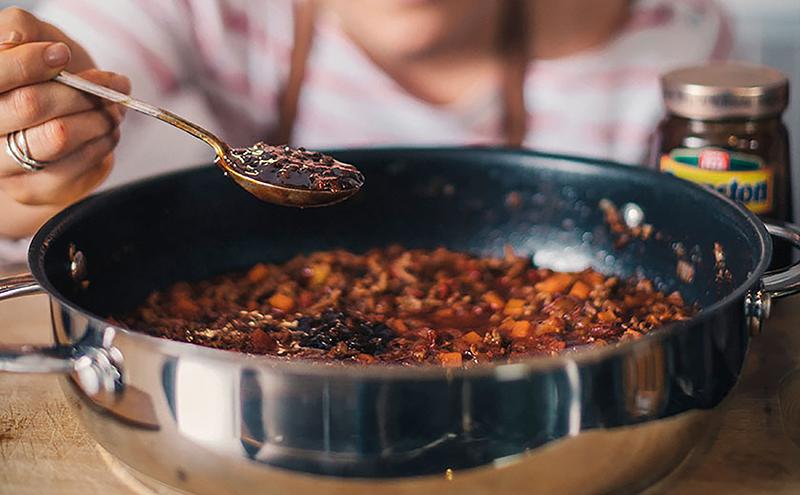 Branston pickle in spaghetti