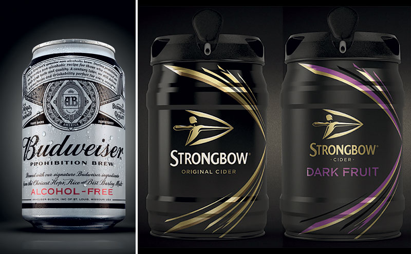 Budwiser can and kegs of Strongbow