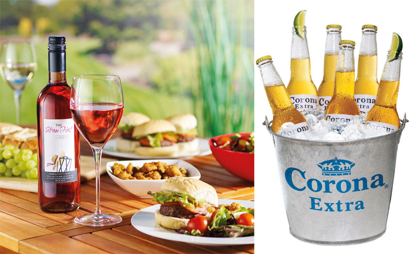 The Straw Hat wine and Corona in a bucket