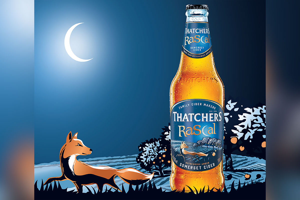 Thatchers Rascal new branding, moonlight and fox graphic