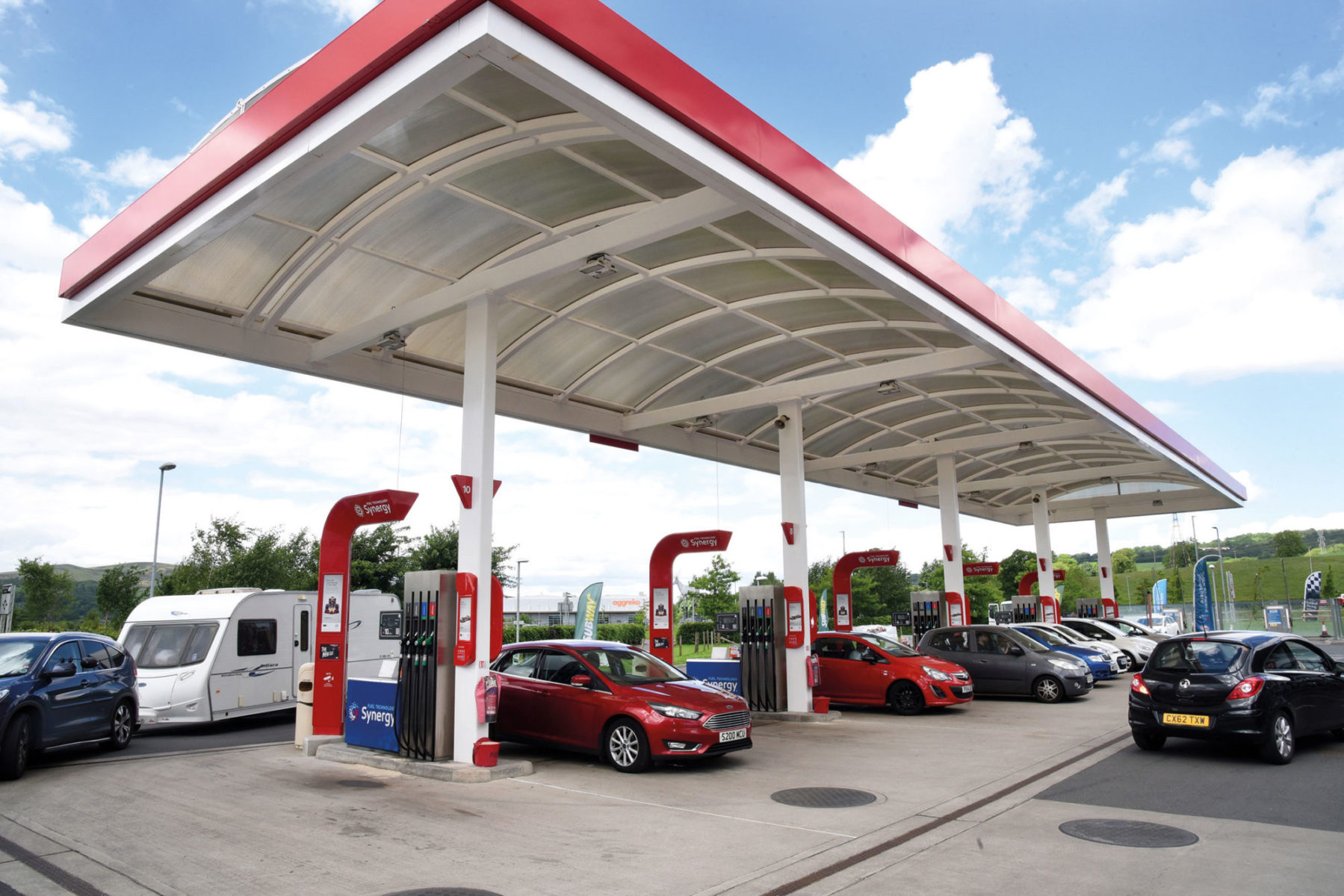 red petrol station