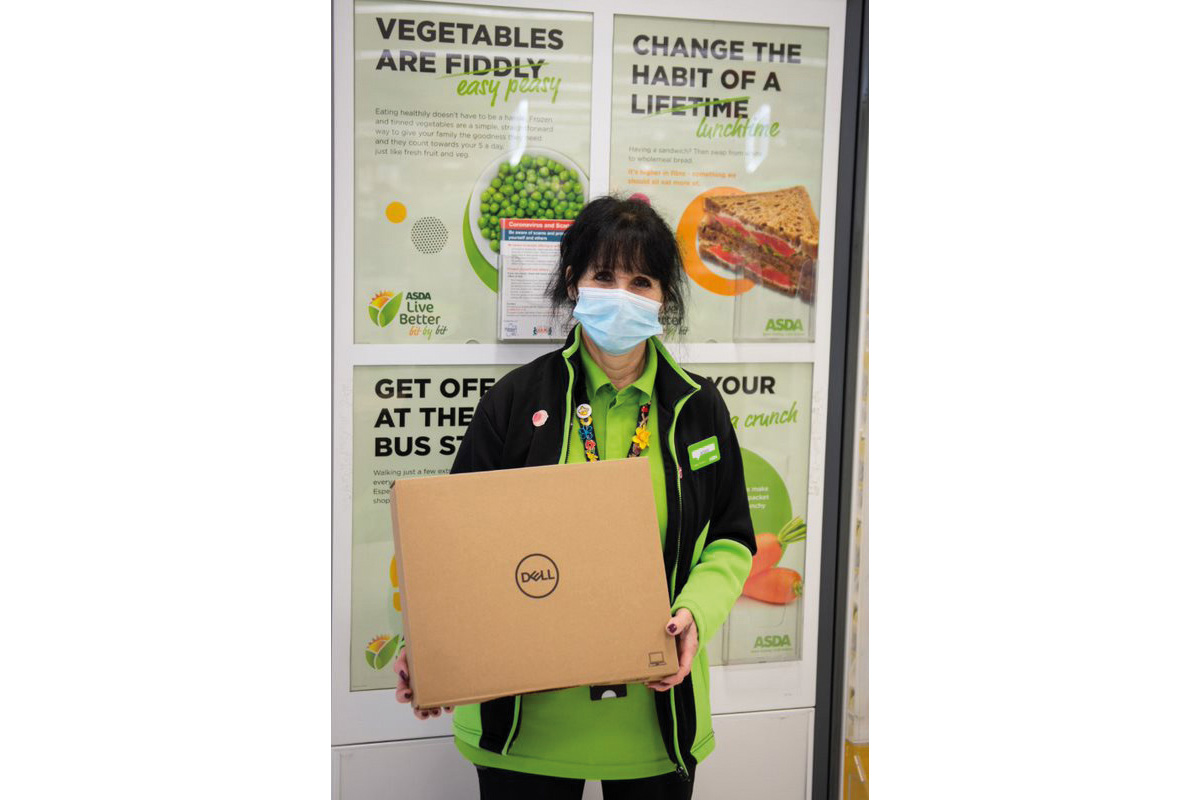 Anne at ASDA Huddersfield with laptop